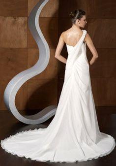 glamorous A-line Satin Beaded sash zipper back Ruffles Wedding Dress - Gopromdress.co.uk