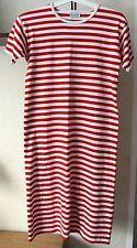 Ladies Marimekko Striped Short Sleeve Dress Made In Finland Red White Size S/M