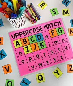 Uppercase matching literacy center. Your kiddos will love completing these interactive literacy activities in independent or small group settings. This pack features 8 centers designed for Kindergarten students which allow them to practice uppercase letters, lower case letters, beginning sounds, short a words, short e words, short i words, short o words and short u words.