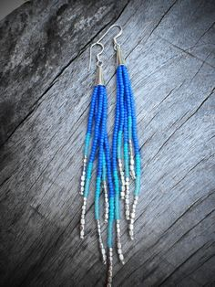 Shooting Star Fringe Earrings - Silver, Blue, Seafoam, Turquoise Seed Bead Earrings, Beaded Fringe, Boho, Tribal, OOAK. $33.00, via Etsy.