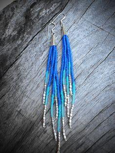 Shooting Star Fringe Earrings - Silver,  Blue, Seafoam, Turquoise Seed Bead Earrings, Beaded Fringe, Boho, Tribal, OOAK. $33.00, via Etsy.