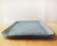 Ceramic blue tray Love cakes Handmade blue by NoykiCeramics
