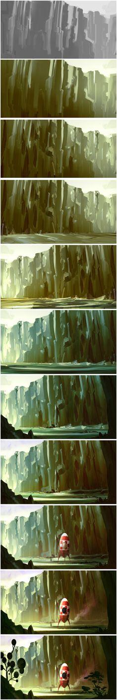 by David-Holland on DeviantArt Digital Painting Tutorials, Digital Art Tutorial, Art Tutorials, Painting Process, Process Art, Painting Tips, Matte Painting, Stone Painting, Conceptual Art