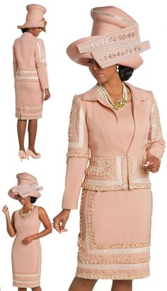 Donna Vinci 11715 Woman Dress/Jacket Church Suit Exclusive Peach Skin Fabric W/Exclusive Embroidered Lace Fabric Trimmed W/Lace. Church Dresses For Women, Church Suits And Hats, Church Attire, Women Church Suits, Dresses For Teens, Club Dresses, Suits For Women, Clothes For Women, Dinner Dresses