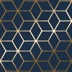 House of Alice Cubic Shimmer Metallic Wallpaper Navy Blue Gold - Wallpaper from I Love Wallpaper UK