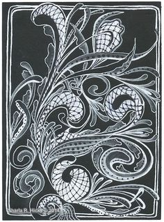 Mooka Curves in White by Sharla R. Hicks, Certified Zentangle Teacher