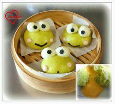 Loving Creations for You: Keroppi Pandan Salted Egg Custard Steamed Buns (very runny naturally coloured 流沙包!!)