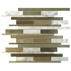 Merola Tile Fusion Linear Champagne 11-7/8 in. x 12-1/8 in. Brushed Aluminum and Glass Mosaic Wall Tile-GITFLCHP at The Home Depot