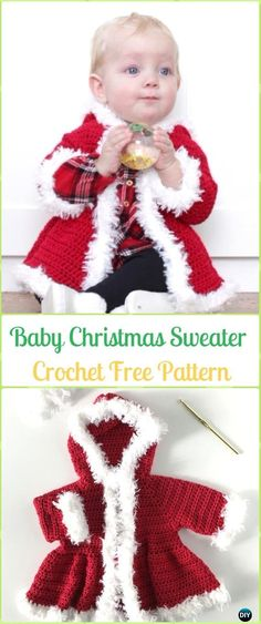 Crochet Baby Christmas Sweater Free Pattern - Crochet Kid's Sweater Coat Free Patterns