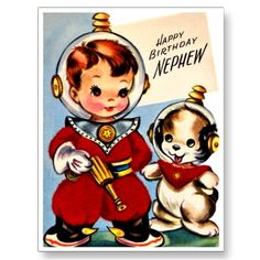 Vintage Little Astronaut Birthday Card.   Retro Happy Birthday Cards and Post Cards by RetroDazes