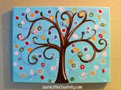 Just A Little Creativity: DIY Thumbprint Tree- Modern Art & Fun for Kids, Weddings, Baby Showers, and Auction Projects, Art Auction, Art Projects, Auction Ideas, Silent Auction, School Auction, Class Projects, Metal Bird Wall Art, Metal Art