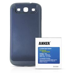 [540 Days Warranty] Anker® 4400mAh Replacement Extended Battery for Samsung Galaxy S3, GT-I9300, T999(T-Mobile), I747(AT&T), I535(Verizon), R530(U.S. Cellular), L710(Sprint), fits EB-L1G6LLU, with NFC/Google Wallet, with Dark Blue Cover Anker http://www.amazon.com/dp/B008TLQ5RY/ref=cm_sw_r_pi_dp_Zx.Itb1RDVEQJZSR