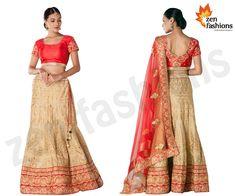 Gold and red lehenga adorn in zari embroidery work. #zenfashions . call for order - +91 9987244208 . #lehenga #choli #gold #red #embroidery #silk #net #dupatta #zen #fashions #design #designer #look #lovely #beauty #beatiful #wedding #bride #bridal #india #mumbai #instapic #style #instagood #instagram #streetfashion