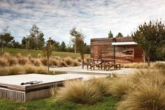 Weathered timber and golden grasses in the hot Central Otago sun. Native New Zealand grasses, tussock and rock Dry Garden, Garden Beds, Terrace Garden, Plans Architecture, Landscape Architecture, Agaves, Australian Garden Design, Rhododendron, New Zealand Landscape