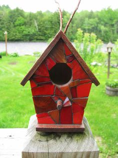 Stained Glass Mosaic Birdhouse Red