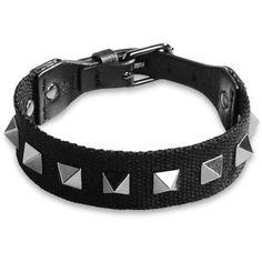 Valentino Garavani Bracelet (285 CAD) ❤ liked on Polyvore featuring men's fashion, men's jewelry, men's bracelets and black