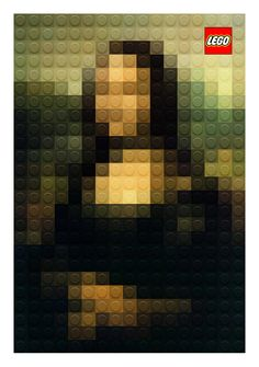 Italian designer Marco Sodano recreated three classic paintings with the use of Lego bricks: Leonardo Da Vinci's Mona Lisa and Lady with an Er Mona Lisa, Deco Design, Design Art, Lisa Design, Design Trends, Print Design, Pixel Art, Johannes Vermeer, Classic Paintings