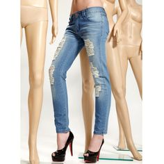 Female Stars Favorite Super Big Hole Jeans Women Slim Pencil Pants Light Blue Jeans