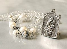 Catholic Necklace, Religious Catholic Scapular Medal, Blessed Mother Mary Necklace, Virgin Mary Necklace, Sacred Heart Necklace