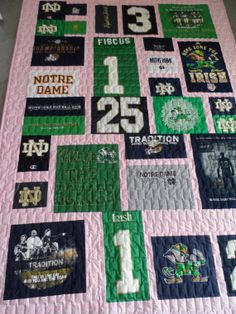 Notre Dame football T-shirt Quilt on Etsy, $300.00