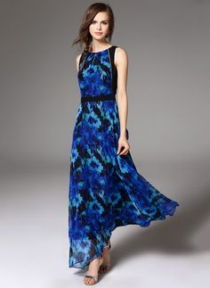 a8c6dc65726c Polyester Floral Sleeveless Maxi Vintage Dresses