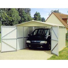 The Yardmaster 1017 Metal Garage provides the perfect carport and unbeatable garden storage. Metal Storage Buildings, Metal Storage Sheds, Metal Garages, Garden Storage Shed, Built In Storage, Garage Storage, Garage Shed, Shed Roof, Steel Panels