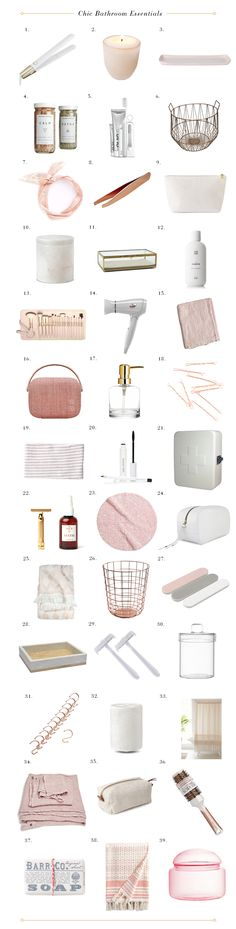 Chic Pink and White Bathroom Essentials