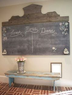 Photo: I love this large chalkboard made from a hollow closet door and some weathered fence boards.  Love! http://thelemonista.blogspot.com/2012/09/shades-of-grey-french-farmhouse.html?spref=fb