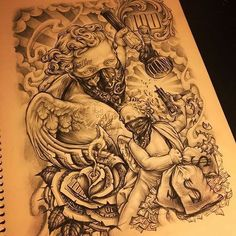 Chicano Tattoos Lettering, Chicano Tattoos Sleeve, Chicano Style Tattoo, Half Sleeve Tattoos Drawings, Chicano Drawings, Forearm Sleeve Tattoos, Tattoo Sleeve Designs, Body Art Tattoos, Chicano Tattoos Gangsters