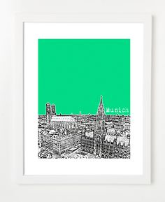 Munich Germany Europe Posters and Skyline Art Prints | By BirdAve