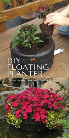 How to make a floating pond planter - A floating garden is a brilliant way to bring color to your pond or backyard water feature. The best part is that you don't have to go hunting for a pond planter because it is a simple DIY you can make at home. Once you have created a floating planter, you can then pop in colorful, long-blooming annuals for a gorgeous container garden display.