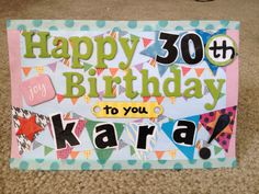 Home made card with chip board letters, mod podge and designer scotch tape