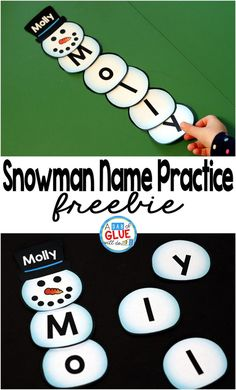Snowman Names - Name Building Practice Printable is the perfect hands-on activity for students to practice making their name. This free printable is perfect for preschool and kindergarten students. #snowman #nameactivities #winteractivities