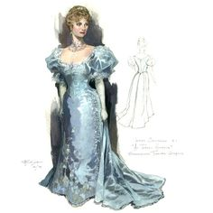"Perdziola chose cool, ""icy"" tones for Lady Chiltern's costumes. ""Keith Baxter wanted her very much to be the ice princess, refusing to see the flaws of her husband, wanting to believe she's in a perfect marriage,"" he said. Costume Design Sketch, Belle Epoch, Fashion Illustration Vintage, Fashion Illustrations, Ap Studio Art, Victorian Costume, Theatre Costumes, Fashion Line, Fashion Plates"