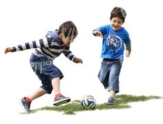 Two boys playing football