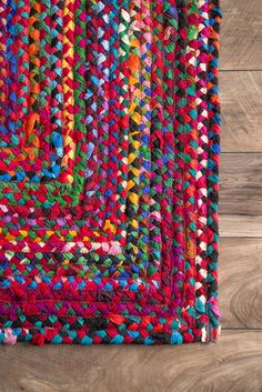 Add a splash of color to your area with this 100% cotton, hand-braided, reversible rug that will add attraction and charm to your room. Made from multi-colored recycled yarn, the contemporary rug will capture attention and imagination easily.