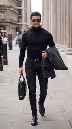 Black Outfit Men, Formal Men Outfit, Casual Wear For Men, Black On Black Mens Fashion, Black Men In Suits, Dark Mens Fashion, Classy Mens Fashion, Street Fashion Men, Italian Mens Fashion