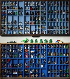 Printers' trays display Boehr's Lego mini figure collection.