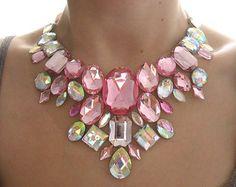 Pastel Pink Statement Necklace, Rhinestone Bib Necklace, Pink and Clear AB, Rhinestone Statement, Jeweled Bib Necklace