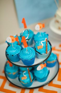 Fish Themed 1st Birthday Party via Kara's Party Ideas   Kara'sPartyIdeas.com #Goldfish #Fishing #PartyIdeas #Supplies (39)