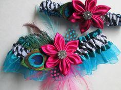 Bridal Wedding Garters, Zebra, Garters, Teal Blue/Turquoise Garters, Pink Kanzashi, Peacock Garters for Destination Bride, Prom Garters. $61.99, via Etsy.