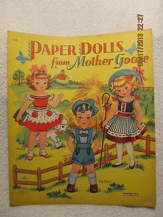 Paper Dolls from Mother GOOSE - 1957 Original Uncut Saalfield 1724 Nursery Rhymes