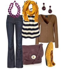 Spring Outfits - plum & yellow