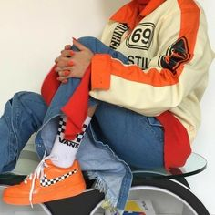 minus the black and white checker board this would be cute Orange Vans 78aaba146