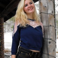 Recycled Navy Blue Sweatshirt With Pink by TheGoodWitchClothing, $25.00