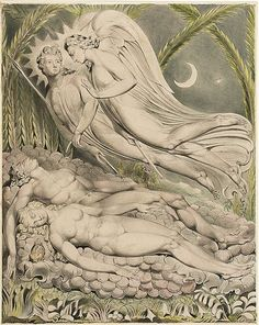 Adam and Eve Asleep ~ William Blake William Blake's Mesmerizing Illustrations for John Milton's Paradise Lost William Blake Art, William Blake Paintings, Milton Paradise Lost, Adam Et Eve, The Frankenstein, Heaven And Hell, Pen And Watercolor, Museum Of Fine Arts, Oeuvre D'art