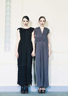 LYONARD  women's Knitwear AW 15 Knitted 3D pleated, silk and cotton full length dress