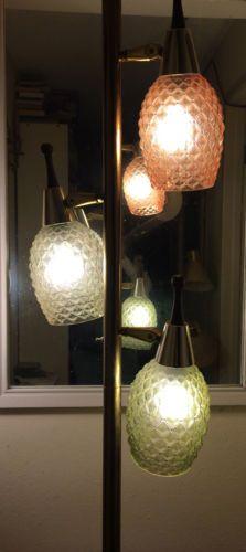 Vintage-Tension-POLE-FLOOR-LAMP-Mid-Century-Danish-Modern-GLASS-Shades-EAMES-ERA