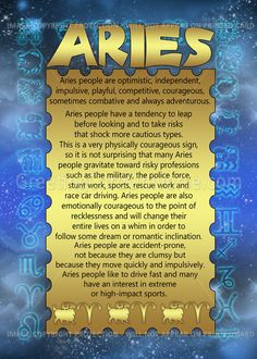 Aries Zodiac Birthday some are true. Definitely not optimistic or risky