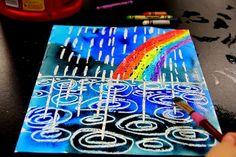 Kunst für Kinder: smART-Klasse: Winterregen-Aquarellresist #aquarellresist #kinder #klasse #kunst #smart #winterregen